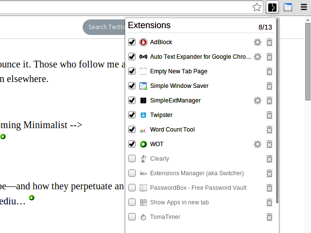 simple ext manager chrome extension
