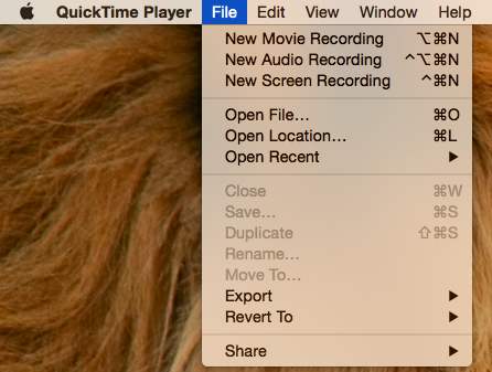 Select File and pick New Movie Recording from the drop d 002