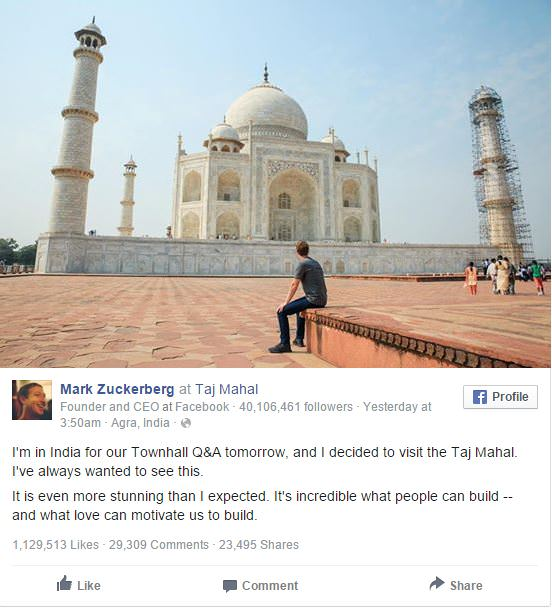 Mark Zuckerberg Taj Mahal