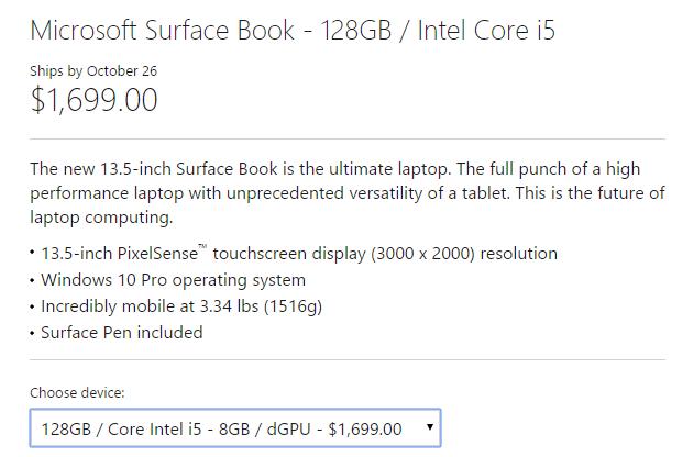 surface book core i5 128GB 8GB dGPU